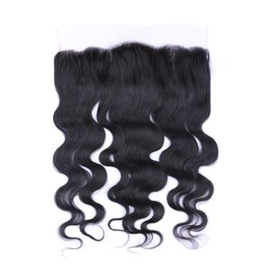 9A base de seda del pelo malasio 4x4 cierre frontal de encaje 13x4 con nudos blanqueados del pelo del bebé sin procesar onda del cuerpo frontal del cordón para la mujer