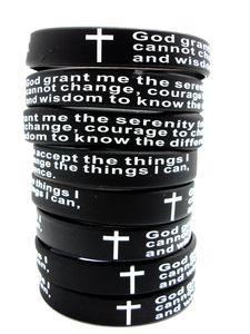100pcs inspirada Inglés rezo de silicona pulseras Men Christian cruz de la manera Pulseras DIOS porciones al por mayor de joyería SERENIDAD