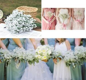 Hanky Set 2016 New Silk Babys Breath Nupcial Gypsophila Bouquet Flor de boda Floral Blanco Bouquet de novia Novia con flores Ramos