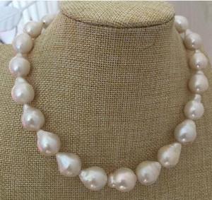 Прекрасный жемчуг ювелирные изделия великолепный 14-16 мм Южное море барокко белый жемчуг ожерелье 18 дюймов 14 к