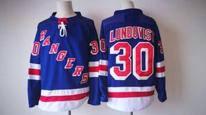 Nueva York Rangers Jerseys # 30 Lundqvist Jersey 2017 Nueva Hockey Jerseys NY Color azul Tamaño M-XXXL orden de la mezcla de alta calidad todos los jerseys