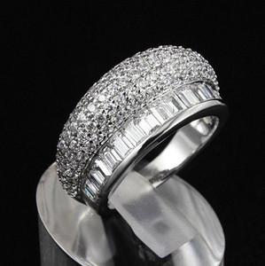 Victoria Wieck Hot Brand Gioielli di moda Bianco Topazio Pietre preziose Diamante CZ 10KT Oro bianco Riempito Donne Anello da sposa set per amore Regalo