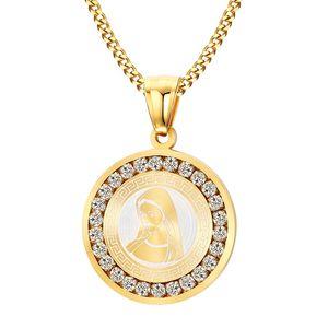Colgantes de la Virgen María chapados en oro con cristal alrededor de acero inoxidable Collar de la Madre de Dios
