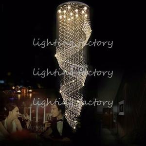 Lobby için uzun Boy Kristal Avize Işık Fikstürü, merdiven Parlaklık, merdiven, fuaye Büyük Kristal lmap Merdiven Aydınlatma