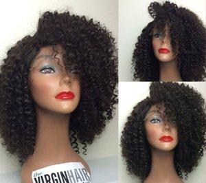 Afrika ucuz Kısa afro kinky kıvırcık peruk virgin İnsan saç DIva tutkalsız dantel ön peruk siyah kadınlar için kinky kıvırcık tam dantel peruk