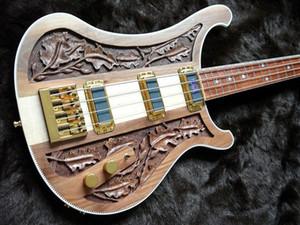 Редкий 4004 Bastard LK Lemmy Kilmister Limited Edition Натуральный грецкий орех, вырезанный вручную, электрическая бас-гитара шея через корпус, связывание шахматной доски