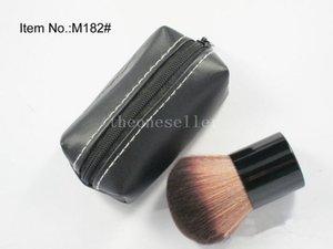 Le maquillage Kabuki de beauté brute brosse le fond de teint poudre minérale grand visage Cosmestic avec le sac en cuir