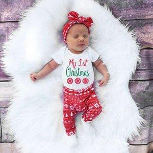 신생아 4PCS 세트 유아 아기 귀여운 편지 크리스마스 사슴 천으로 긴 소매 Romper + Snowflake Pants + HeadBand + 모자 복장