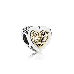 925 Gümüş Charm Boncuk Hollow Kalp Big Hole Charms Boncuk Uyar El Yapımı Bilezik Kadınlar DIY Takı Toptan