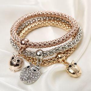 Wholesale-Fashion 3Pcs / set Kristallkorn-Armband-Frauen-Gold überzogene Kristalleule-Armband-Schmuck-elastische Charme-Geschenke pulseira feminina
