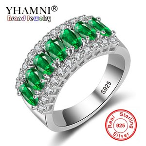 YHAMNI New Fashion Natural Green Diamond Crystal 925 Anelli d'argento per le donne gioielli di lusso Wedding Party anelli di barretta 501Y