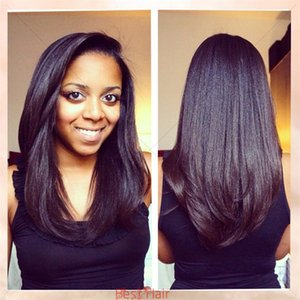 Glueless Soie Top Full Lace Perruques Lumière Yaki Brésilien Vierge Cheveux Full Lace Perruques de Cheveux Humains Yaki Droite Pour Les Femmes Noires