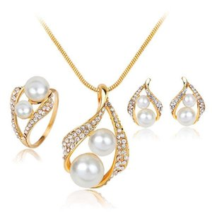New Crystal Double Pearl Jewelry Sets for Wedding Brides Bridesmail Gold Plated Necklaces Earrings Rings Women Fashion Jewlery