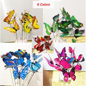الفراشات الملونة حديقة البلاستيك على العصي الرقص تحلق ترفرف الفراشة DIY فن زخرفة زخرفة حديقة إناء الحديقة