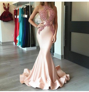 Glamorous Vestido De Festa Blush Pink Appliques Evening Dresses 2017 Mermaid Illusion Sweep Train Formal Pageant Party Dresses