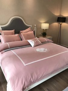 uxuary embroidery bed sheet bedding set 100%cotton fabrix with brushed finish solid color patchwork process, 4pieces per set mingyang18010