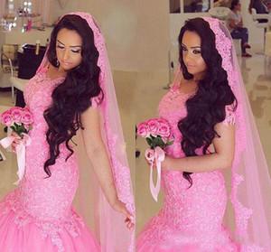 2017-2018 Magnifique Rose Robes De Mariée Sirène Arbaic Applique Dentelle Tulle Tribunal Train Robes De Mariée Avec Free Veils