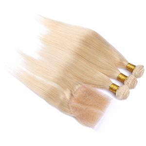 Cabello humano rubio ruso con cierre # 613 Bleach Blonde 10A Cabello humano ruso 3Bundles con 4x4 encaje Cierre superior Parte libre Seda sedosa