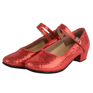 Gilrs Glittering Closed Toe Latin Dance Shoes Kids Sparkly Y-strap Suede Sole Ballroom Dance Shoes Low heeled Wedding Flower Girls Shoes
