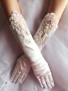 Chegada nova Full Fingers Branco Marfim Luvas De Noiva Barato Em Estoque Applique Pérola Frisado Cotovelo Comprimento Luvas de Casamento Acessórios CPA257