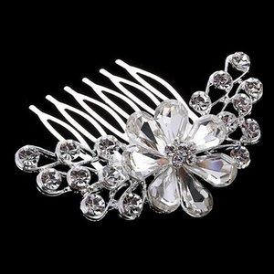 La mejor oferta Cristal de lujo tocado de novia Accesorios de vestido de novia joyería nupcial del pelo vrystal flor peine del pelo precio al por mayor DHF803