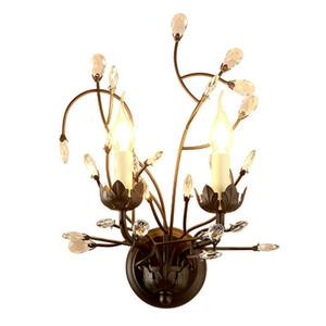 Kristallwand-Lampen Sretro Vintage-Metall-Wandleuchte 2-Kopf Hauptbeleuchtung Kristall Wandleuchten Flur E14 LED-Licht Fixttures