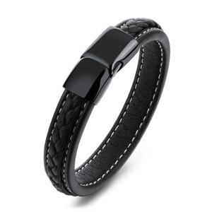 Vintage Schwarz Echtes Leder Handgelenk Armband Magnetic Edelstahl Verschluss Armband für Männer Punk Rock Surfer Mens Friendship Jewelry