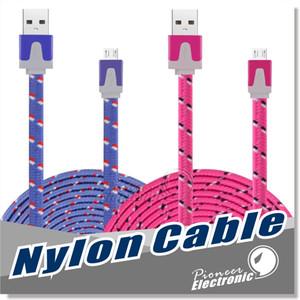 10ft 6ft 3FT Noodle Flat Braid Cabo de carregamento Corda de sincronização Micro Wire USB Data Tecido Cabo SamsungS5 S6 Nota 4 5 HTC