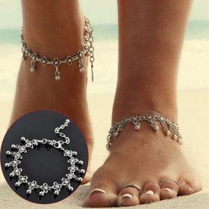 Piede Gioielli Donna Piede catena Ankle Anklet Bracelet Sandalo Summer Beach Tacchi alti Accessori Tibetan Silver Flower Beads Tassel Anklets