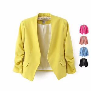Vendita calda nessun pulsante Giacche da donna 2016 Autunno moda donna colore solido vestito cappotto giacca Chaquetas Mujer Casaco Feminino