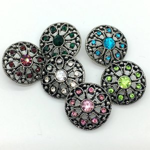 Noosa Snap Button Rhinestone Chunk Charm Button 18mm Flor intercambiable Hollow Style Jewelry para Ginger Snap Bracelet Necklace Ring