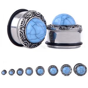 2 piezas Punk Expander Ear Body Piercing Jewelry Shellhard Fashion Flesh Tunnels Opal Stone Ear Plugs 6-20mm