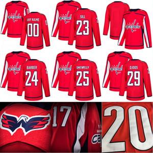 2017-18 موسم جديد Washington Capitals Jersey 23 Zach Sill 24 Riley Barber 25 Devante Smith-Pelly 29 Christian Djoos Hockey Jersey