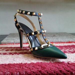 Bombas 2017 Newe oscuro valentín verde de cuero real de las mujeres los zapatos de tacón T -strap toeHigh en punta de la moda