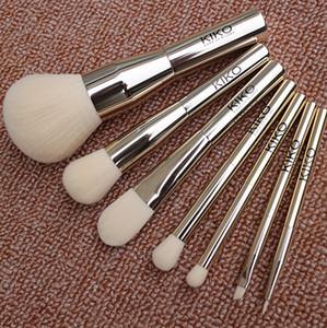 7 pz Pennelli trucco Kiko Kit di strumenti Blush Ombretto Fondotinta in polvere Marca Professionale Manico in metallo Make Up Brush Set Economici DHL Libera La Nave