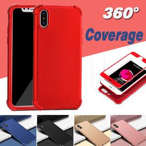 360 graus de cobertura rígido pc + tpu capa cheia à prova de choque air cushion case para iphone x 8 7 plus 6 6 s 5 5S Com Protetor de Tela De Vidro Temperado