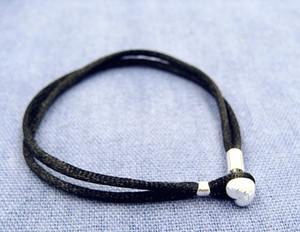 Bracelet cordon en tissu noir avec fermoir en argent sterling, convient aux bijoux et charmes de style européen Pandora