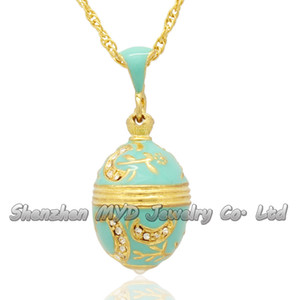 Fashion women jewelry high quality necklace color enameled moon flower tree Russian style Faberge egg pendants for ladies