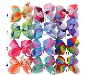 MyAmy Grosgrain Ribbon 6 '' Archi dei capelli con clip a coccodrillo Cartoon Boutique arcobaleni arcobaleni 6 pollici archi 24 pz / lotto