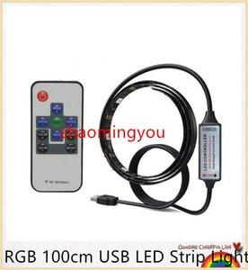 SMD 5050 RGB 100cm USB LED Kit Bande Lumière Rétro-éclairage Cuttable Avec 10 télécommande, DC5V bande led, livraison gratuite