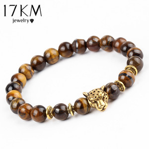 Pulseras Mujer Gold Color Leopard Head Bead Buddha Bracelet Natural Stone Lava Matte Tiger Eye Men And Women Bracelets Christmas Gift