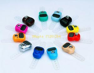 100pcs / lot DHL libera il trasporto Mini Hand Hold Band Tally Counter LCD Digital Screen Finger Ring contatore elettronico testa