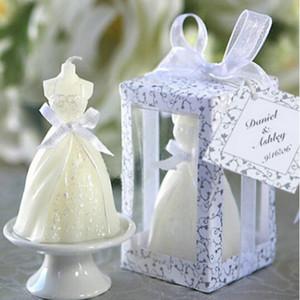 New White Bridal Wedding Dress Shape Candle Bougie Wedding Party Decor Candle
