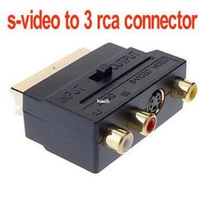 10 шт.\пакет Бесплатная доставка RGB Scart 20 контактный разъем 3 RCA AV женский + S видео адаптер конвертер