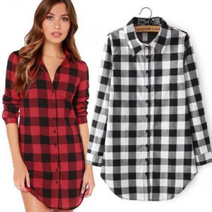 Kadın Bahar Sonbahar Hiqh kaliteli Pamuk kırmızı siyah ekose gömlek Moda Rahat Uzun kollu Gömlek Bluz S-2XL ücretsiz kargo