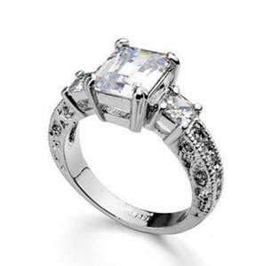 Anello nuziale di fidanzamento con diamante in oro bianco massiccio 14Kt a taglio reale con diamante smeraldo a 3 carati