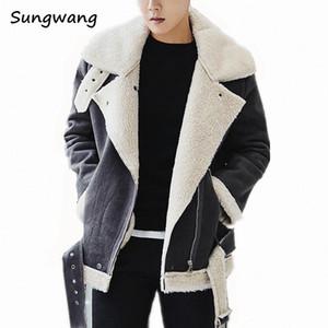 도매 - 하라주쿠 두꺼운 모피는 겨울 가죽 자켓 남성 플러스 벨벳 안감으로 사선 지퍼 고유 남성 스웨이드 재킷 코트를 따뜻하게