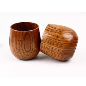 Taza de té de madera natural de madera copas de vino 200mML multifunción equipamiento para el hogar decorar herramienta Big Belly Copas 6 8kjw J R