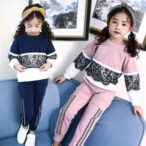 2019 Fall New Girl Set Coreano bambini manica in pizzo testa che unisce due insiemi tute sportive