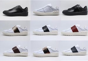 BEST QUALITY! colors genuine leather unisex sneakers shoes luxury designer v vogue runway black red yellow blue
